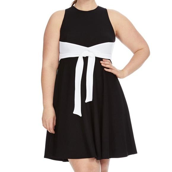 Hutch Dresses | Tie Detail Black White Colorblock Dress Plus | Poshmark
